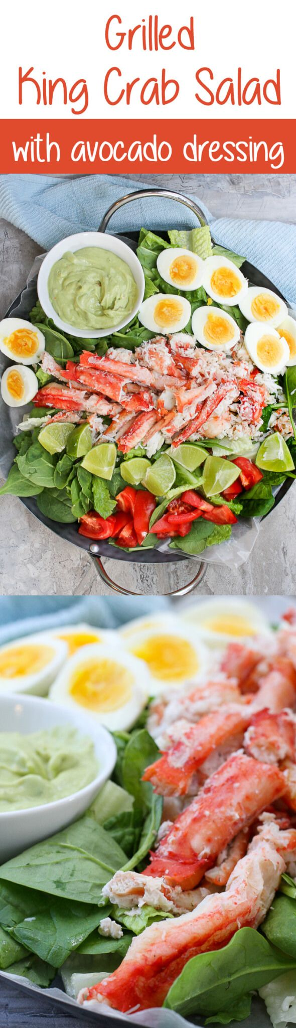 #ad This Grilled King Crab Salad with Creamy Avocado is delicious at home or at a picnic, and is a light, refreshing, and healthy seafood salad! #seafood #crab #crablegs #crabsalad #kingcrab