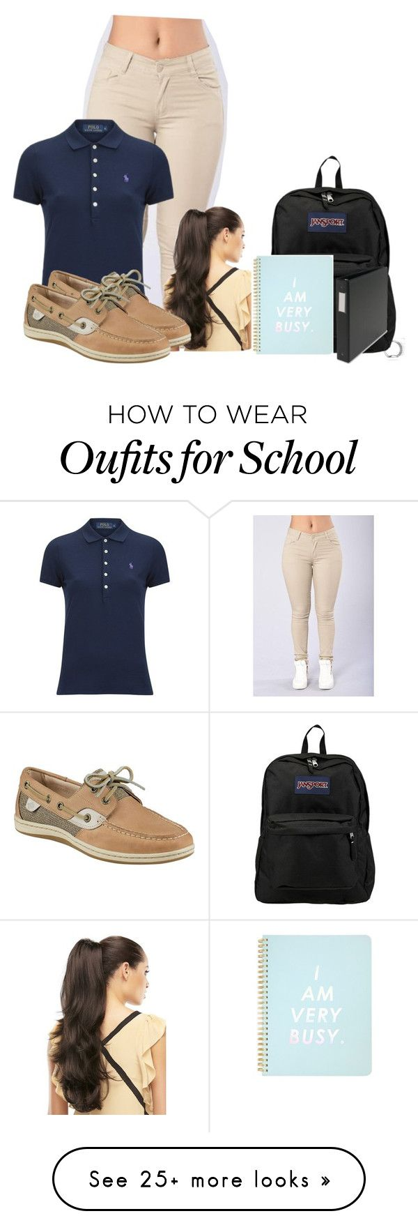 """School uniform"" by asvpkateee on Polyvore featuring Polo Ralph Lauren, JanSport, ban.do and Sperry"