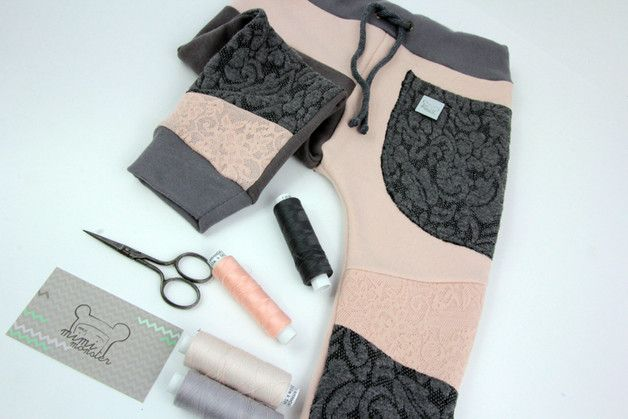 Patch Pants - ECO dresik dziecięcy pudrowy róż - MimiMonsterAttack - Spodnie dla niemowląt