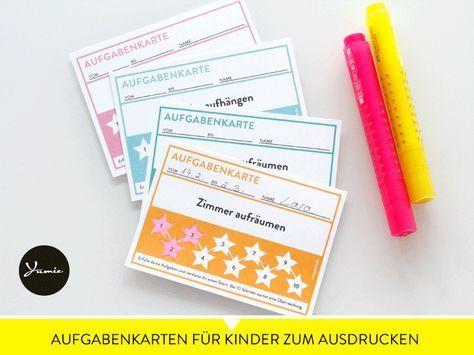 Aufgabenkarten für Kinder zum Ausdrucken