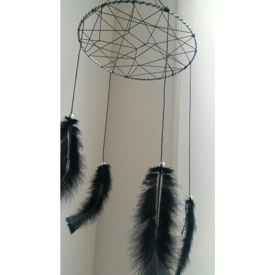 Dreamcatcher black feathers baby nursery