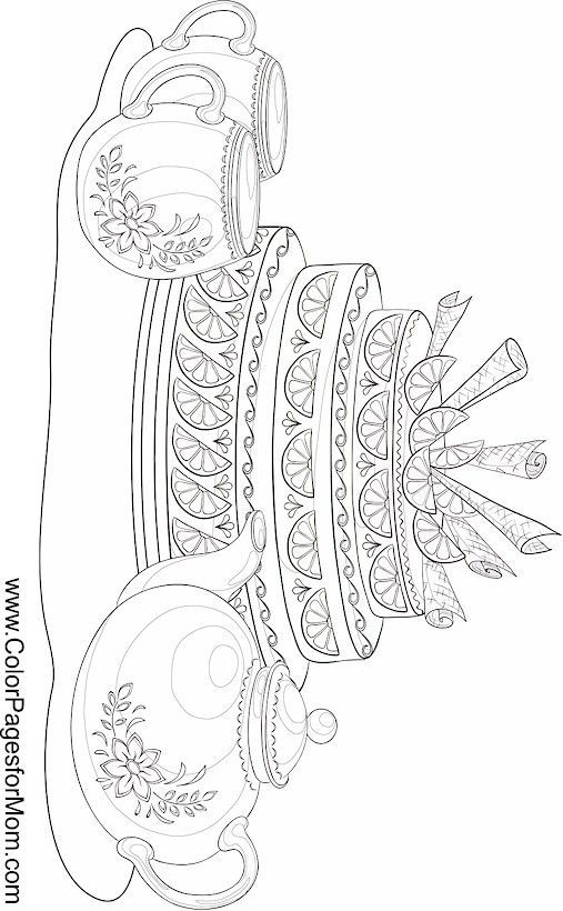 coffee tea and wine coloring page 5 colorpagesformom - Princess Tea Party Coloring Pages