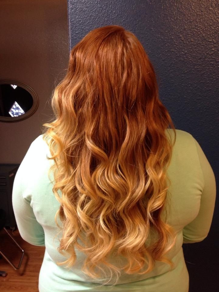 Natural red hair with blonde ombré ! Done by Holly Mcklem @ Euphoria salon Pueblo colorado