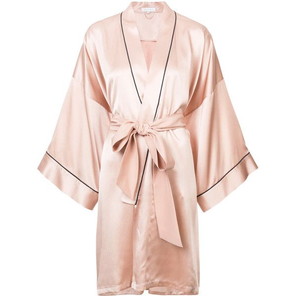 Olivia Von Halle Mimi short robe ($875) ❤ liked on Polyvore featuring intimates, robes, silk dressing gown, short silk robe, short dressing gown, long bathrobe and long bath robe