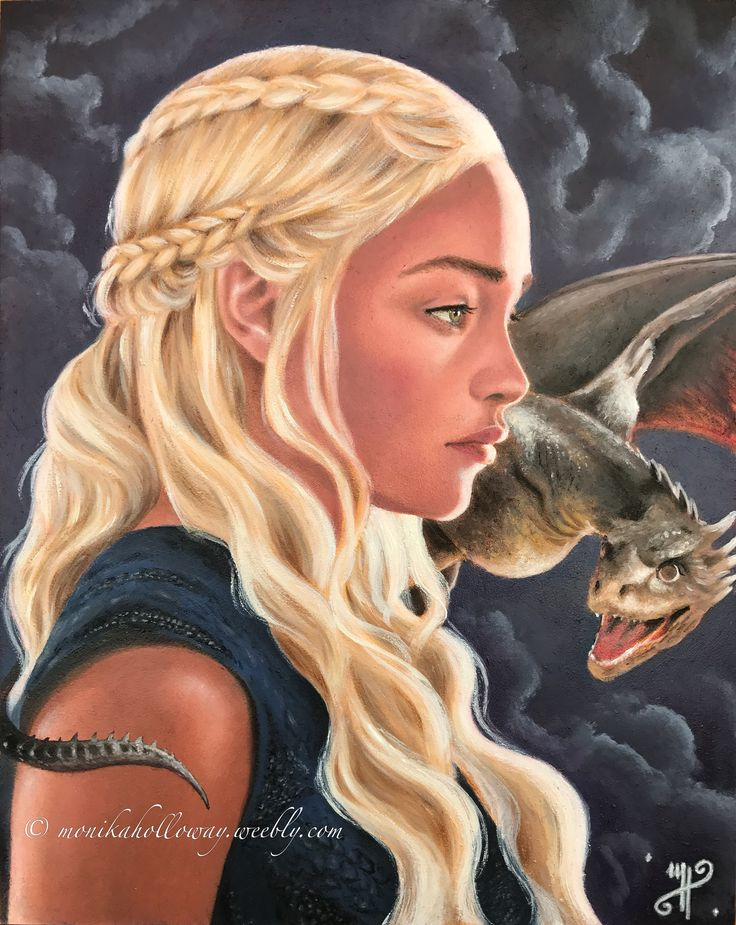 Daenerys Stormborn - oil on gesso board, copyright Monika Holloway