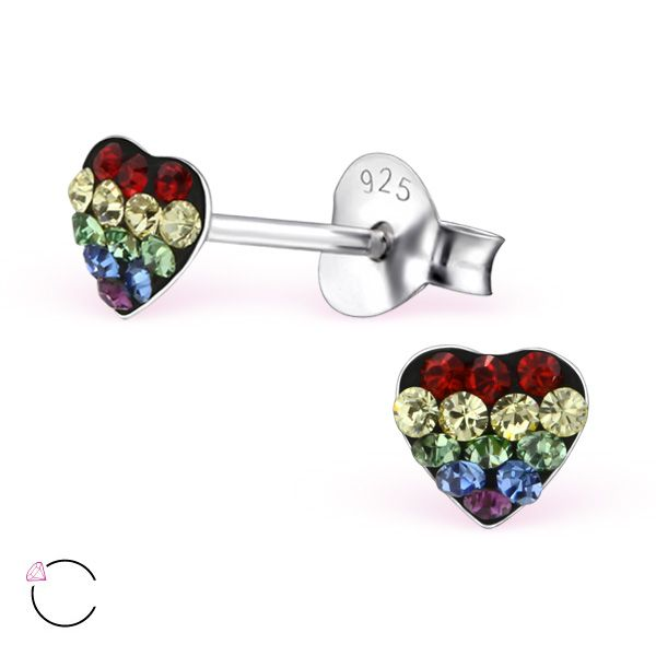 Children's heart shaped silver stud earrings with rainbow Swarovski crystals, $2.87 for pair.