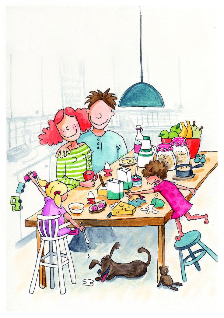 Family breakfast, watercolor Student work Berghs SoC ©lisablom