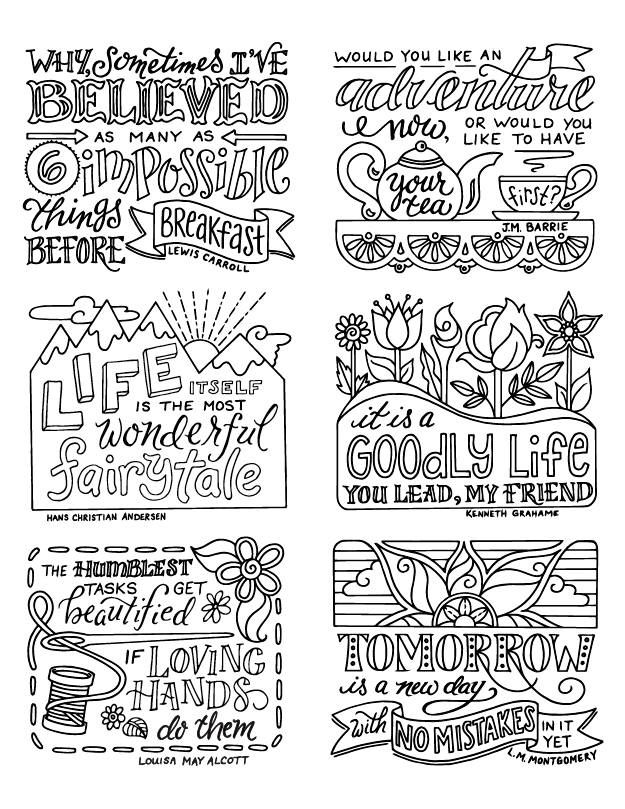 Quote Stickers / Classic Children's Book Authors / Coloring / Bullet Journal Planner Printable Downl
