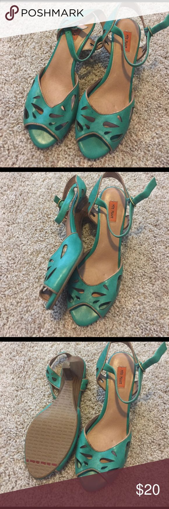 Miz Mooz green strappy peep toe heels These are super cute and such a great color. miz mooz Shoes Heels