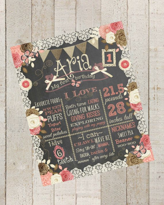 First Birthday Chalkboard Shabby  Chic 100 by themilkandcreamco, $15.00 First Birthday Chalkboard -Shabby Chic- 100% CUSTOMIZED Poster Sign, Flower, Vintage Birthday Printable File