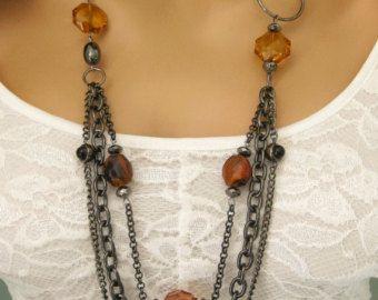 Collana di perline grosso grigio lungo Multi Strand collana
