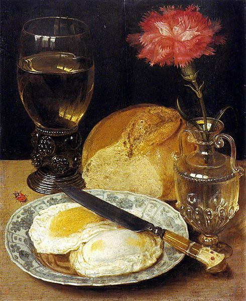"""Lunch with fried eggs"" by Georg Flegel (1566–1638) via Wikimedia Commons."