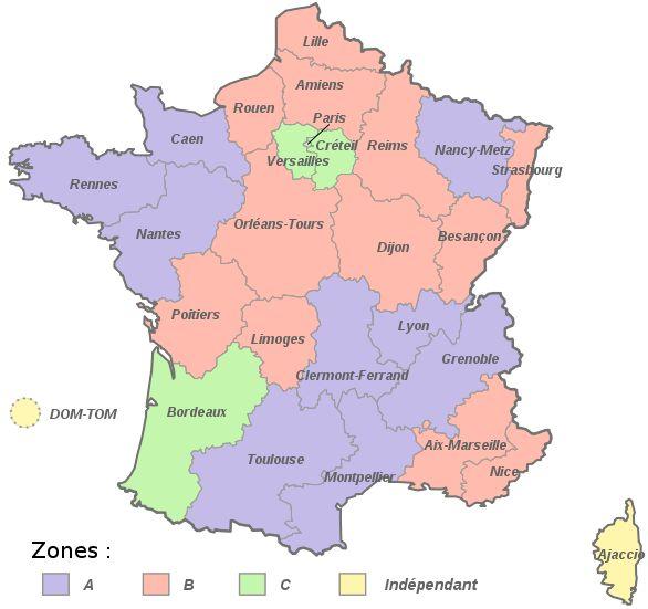 Voici la carte des vacances scolaires ainsi que le calendrier des vacances scolaires 2013-2014. Les zones de vacances scolaires en France c... lire la suite