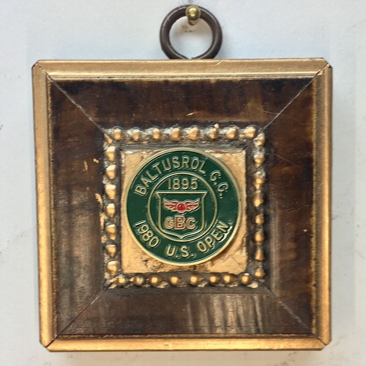 "Gilt Wooden Frame with 1980 US OPEN Golf Marker (2.75"" wide)"