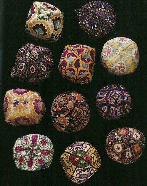 """suzani:  """" Old Uzbek ethnic hats… 1880-1930, silk embroidery, tribal art, Uzbekistan  """""""