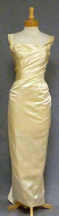 Vintageous, LLC - EXQUISITE Ceil Chapman Oyster Satin 1950's Evening Gown, $1,085.00 (http://www.vintageous.com/exquisite-ceil-chapman-oyster-satin-1950s-evening-gown/)
