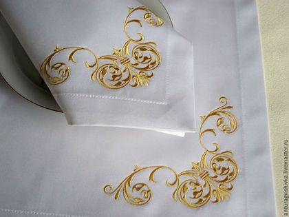 Вышитые салфетки Золотые завитки Салфетки с вышивкой Текстиль с вышивкой Подарок на любой случай Свадебные салфетки