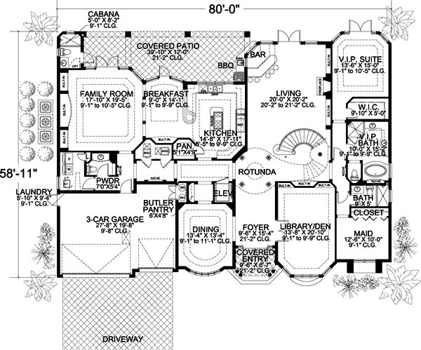 Florida Style House Plans 6412 Square Foot Home 2 Story