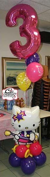 Colonna di palloncini a tema Hello Kitty realizzata da C&C Creations Eventi.