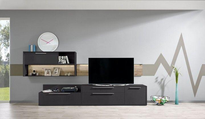 Gamble - Obývací stěna 570110 (antr./antr. lesk/panel dub sand)