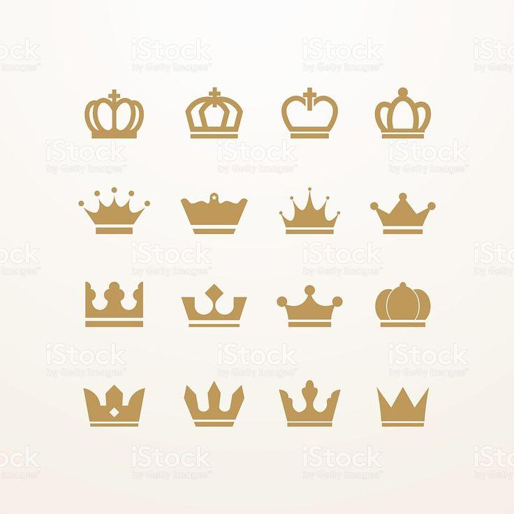 Golden isolé couronne icônes stock vecteur libres de droits libre de droits