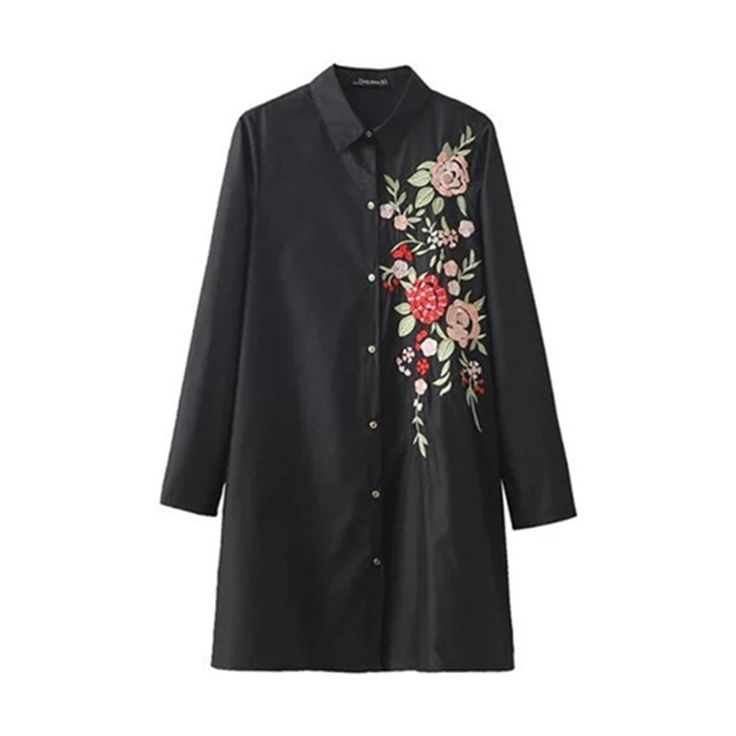 Women Embroidered Blouse Black Long Sleeve Turn-down Collar Shirt Dress and Top Floral Blusas Bordadas Camisas Femininas