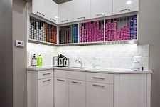 Corner Color Dispensary Custom Designed and manufactured by Salon Interiors for Vicki Popp Salon