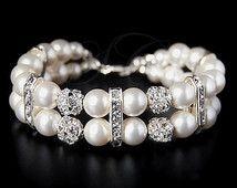 Bridal Pearl Bracelet Wedding Jewelry Wedding Cuff Bracelet Swarovski Pearls Cubic Zirconia Bling Rhinestone White Ivory Cream Classic