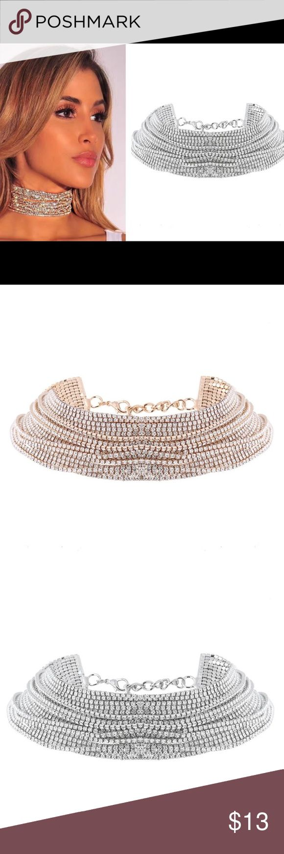 Maxi linked rhinestone choker. Maci linked choker. Made to fit fitted on neck. Luxury necklace 36cm Jewelry Necklaces