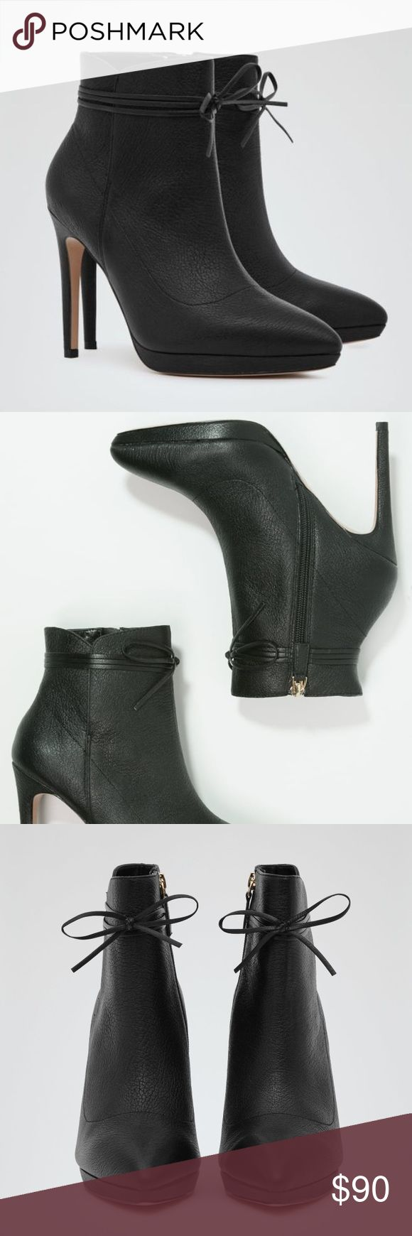 REISS black Orion bow bootie Love these flirty booties! I wish I could fit into them! Reiss Shoes Ankle Boots & Booties