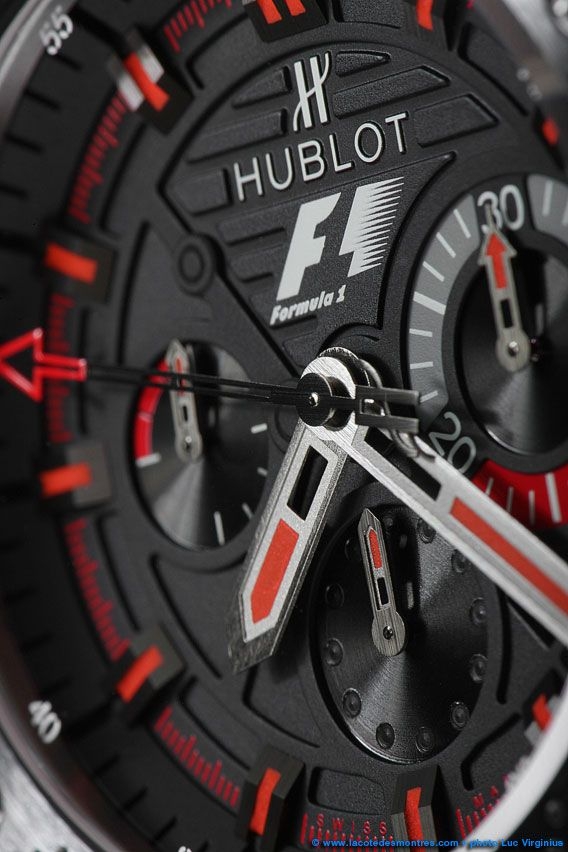 La Cote des Montres : Shooting de la montre Hublot F1 King Power - La Montre Officielle de la Formule 1