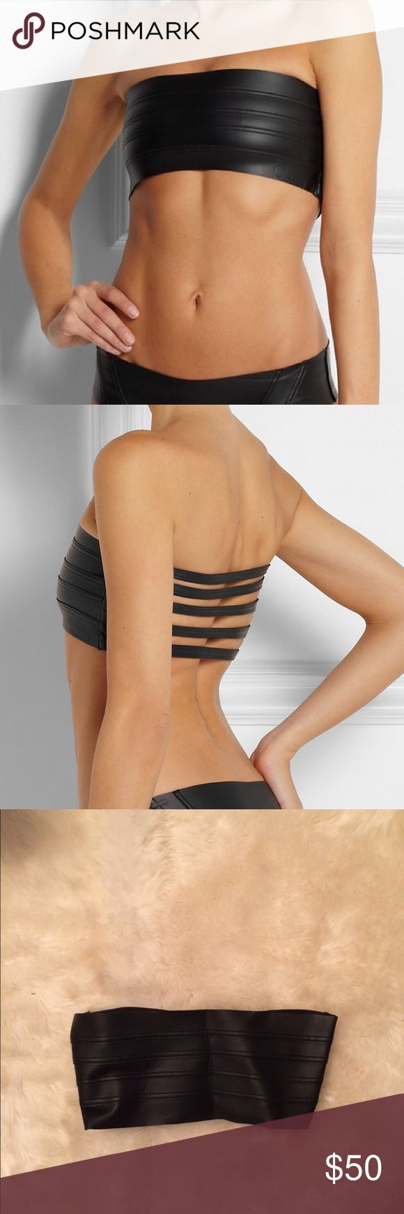 Mikoh Rincon Rubberized Neoprene Bandeau Top Mikoh bandeau swim top, neoprene, strappy back, worn once Mikoh Swim Bikinis