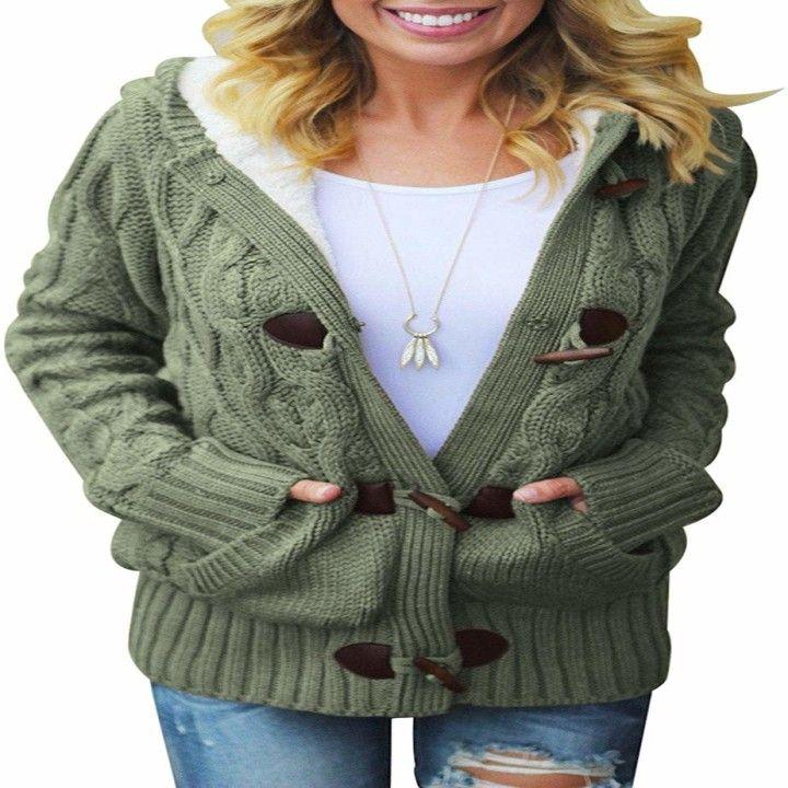 Daily Ritual Womens Cozy Knit Hooded Open Cardigan Shirt