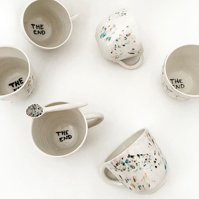 Apocaliptic Coffee message in my cups 👻#agceramica #ceramica #ceramics #ceramique #cups #mug #cup #taza #tacita #coffee #cafe #white #colors #blanco #colores #design #art #arte #diseño #theend
