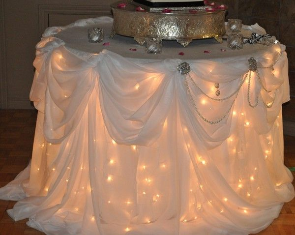 Lights under the table cloth. beautiful for the reception!