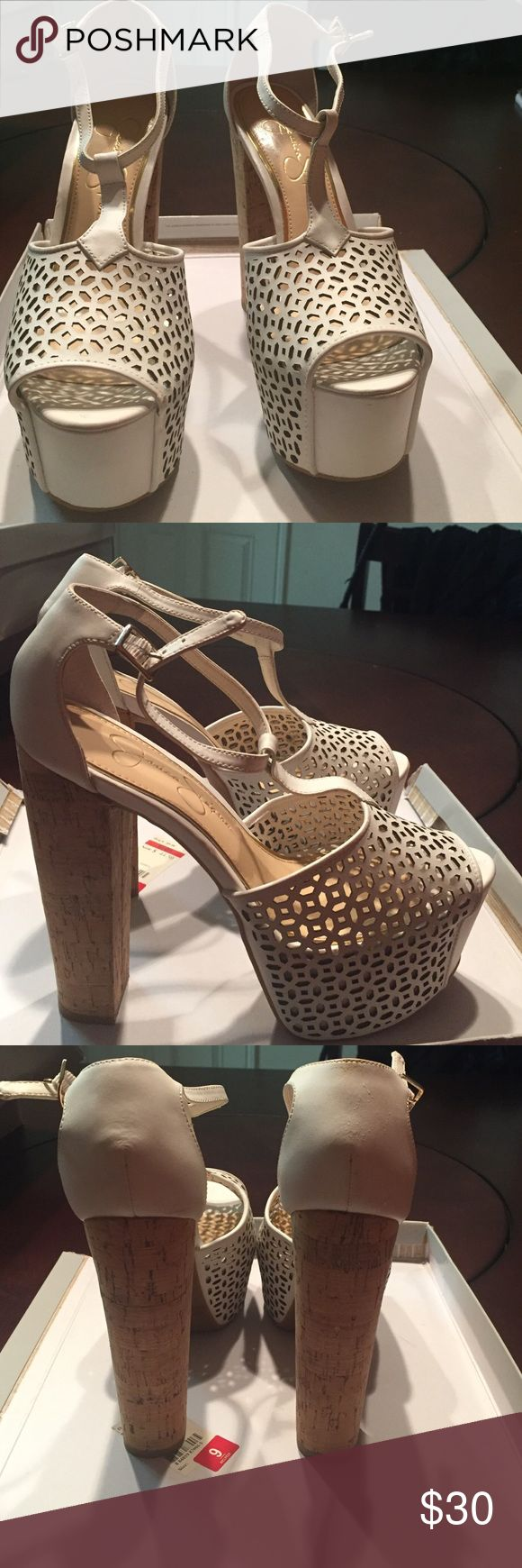 White with cork heel Danny5 by Jessica Simpson Lightly worn white heeled sandal Jessica Simpson Shoes Sandals