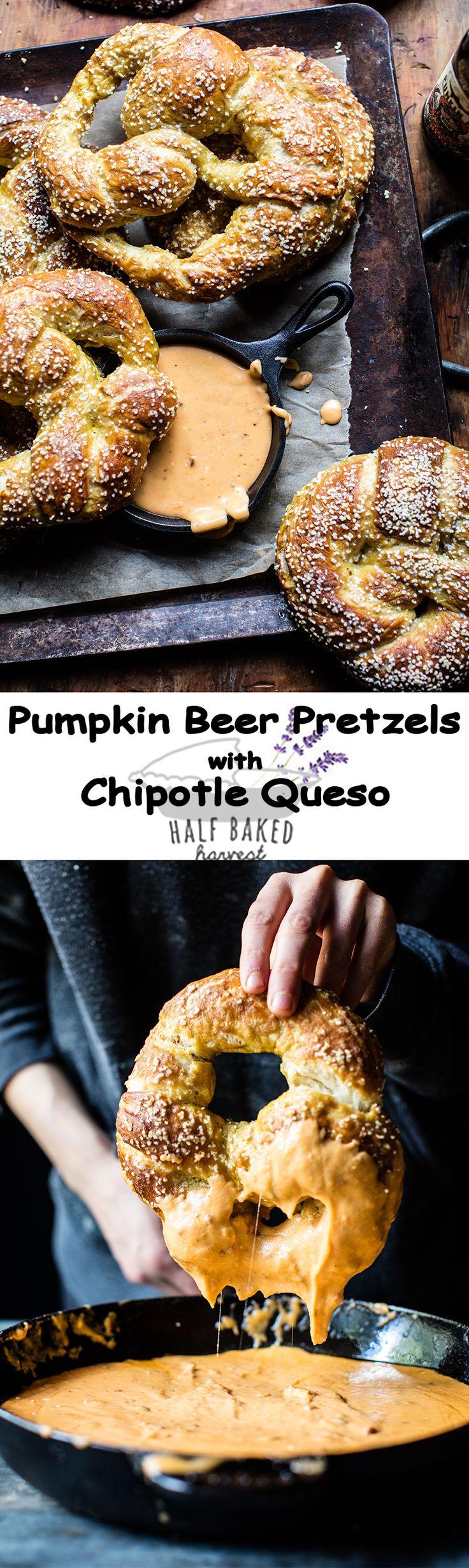 Pumpkin Beer Pretzels with Chipotle Queso | halfbakedharvest.com @hbharvest