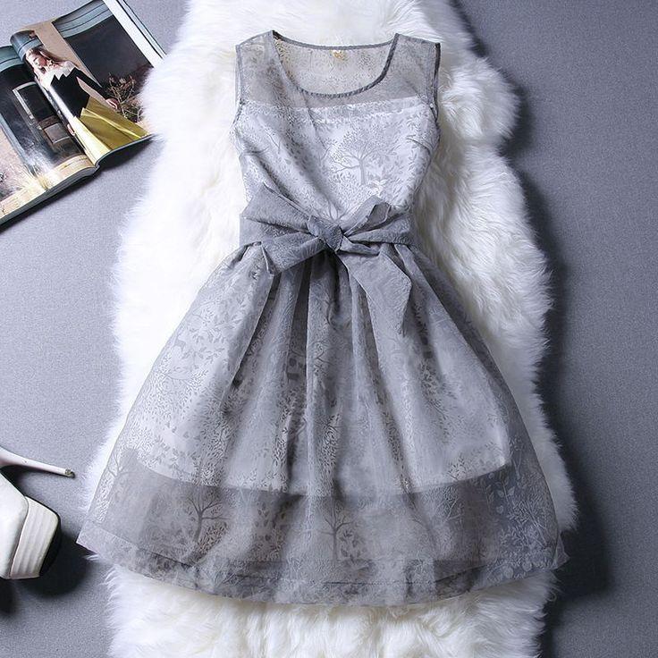 Новый белый серый с бантом кружева платье линии ну вечеринку платье vestido де феста курто дамы женской одежды 2016 мода Большой размер летние платья купить на AliExpress