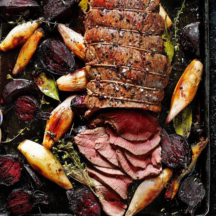 Roast venison haunch with beetroot, shallots and horseradish - Sainsbury's Magazine