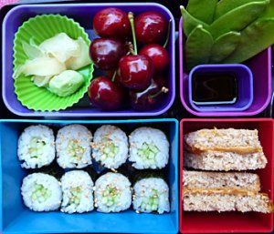 Cucumber Sushi Roll, Ginger and Wasabi, Soy Sauce, Snow Peas, Cherries, Peanut Butter and Jelly Sandwich