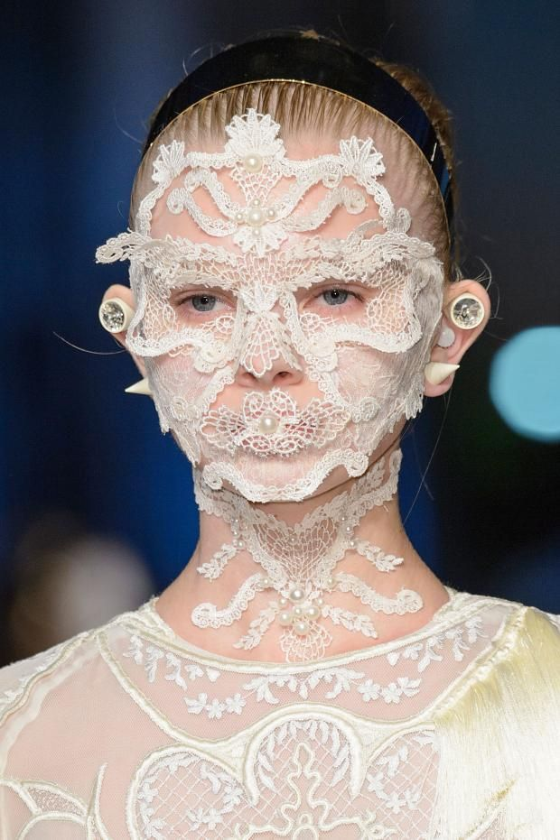  Face jewelry at Givenchy Spring 2016. Makeup by...