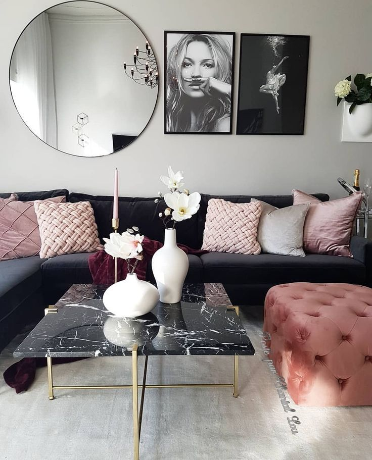 Rose Gold And Marble Inter Yer Dizajn Domashnogo Inter Yeru Vitalnya #rose #gold #and #grey #living #room #ideas