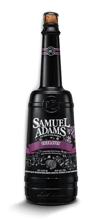 Cerveja Samuel Adams Tetravis, estilo Belgian Quadrupel / ABT, produzida por Boston Beer Company, Estados Unidos. 10.2% ABV de álcool.