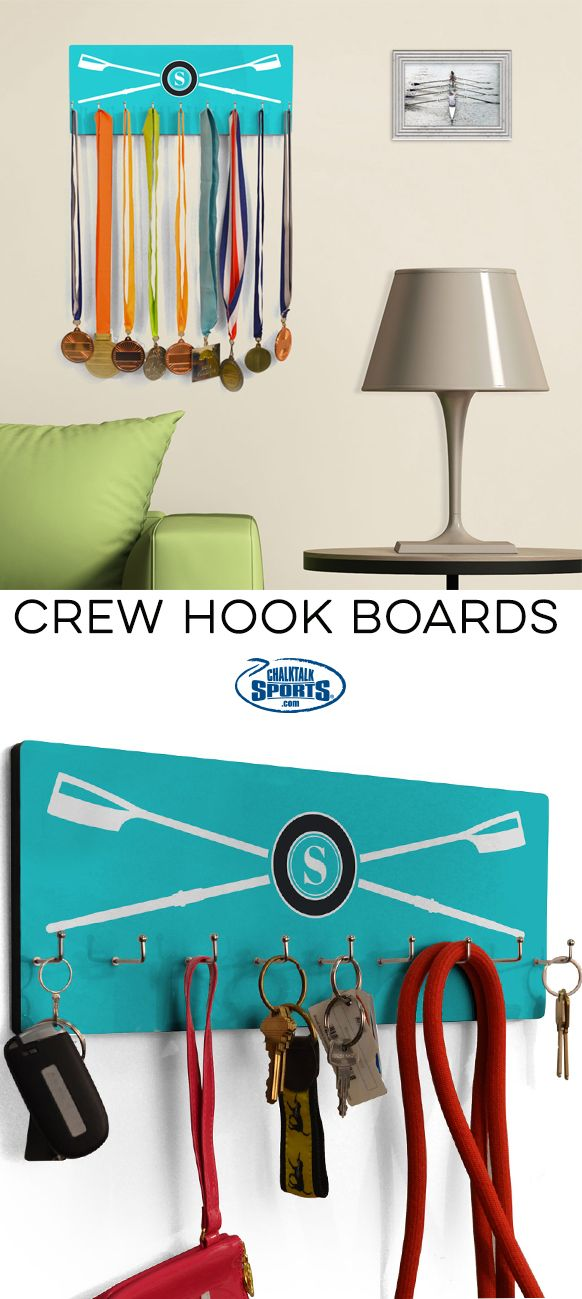 Need a stylish and efficient way to organize your belongings or even to show off your rowing hardware? Our crew hook boards can be personalized with your name and favorite color to meet you personal style needs!
