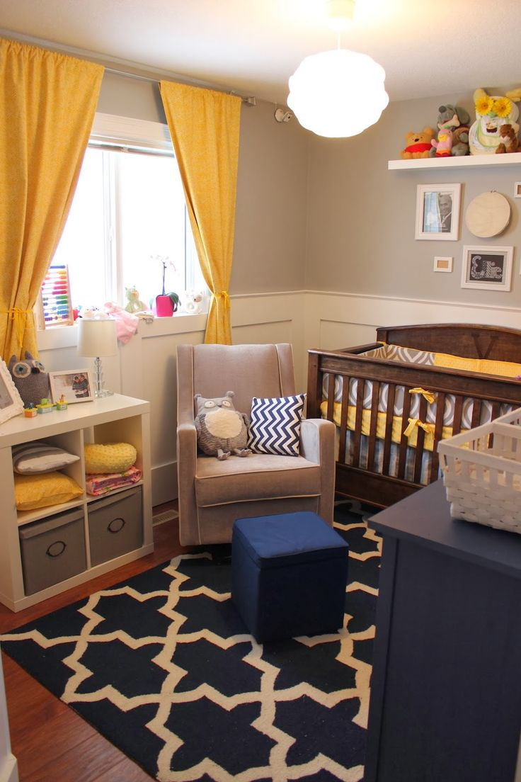 Yellow, navy and gray, perfect! Find this Pin and more on Small baby rooms  ...