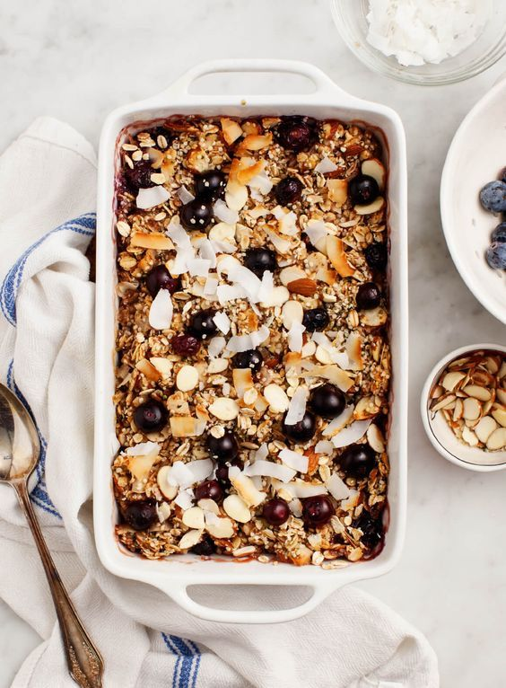 Vegan Blueberry Coconut Baked Oatmeal with Almonds & Hemp Seeds