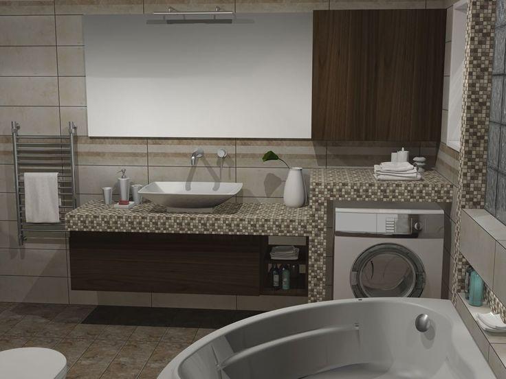 Το πλυντήριο εντοιχίστηκε σε ειδική κτιστή κατασκευή η οποία επενδύθηκε με ψηφίδα. Για εξομάλυνση του όγκου του πλυντηρίου επάνω από αυτό τοποθετήθηκε ένα κρεμαστό ερμάριο προσφέροντας συγχρόνως αποθηκευτικό χώρο.