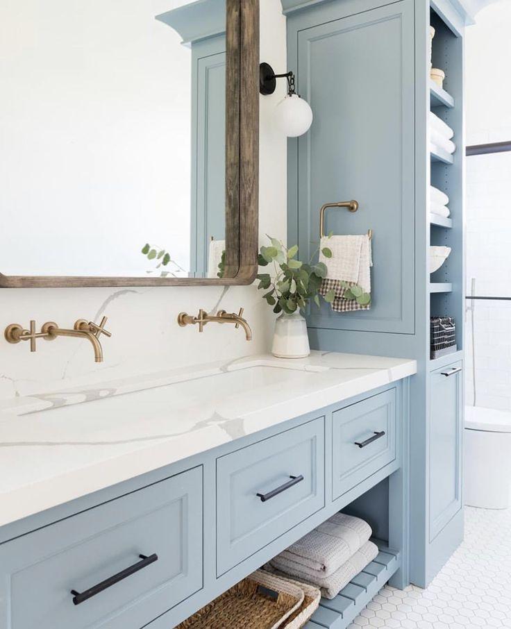 Dusty Gray Blue Bathroom Cabinets Bathrooms Remodel Bathroom Inspiration Painting Bathroom