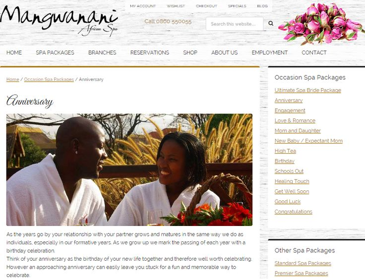 Anniversary Package; Web page to promote Special Event Celebration package for Mangwanani African Day Spa (South Africa) Need similar (or other copywriting/web content) work done? Contact me - darrell@wordtiffie.co.za #wordtiffie