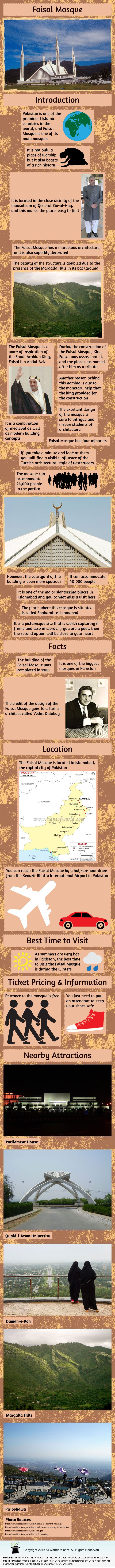 Faisal Mosque Infographic showing facts and information about the Mosque in Islamabad. Know about its Location, Best time to visit, Nearby Attractions and more.